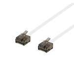 822119 DELTACO U/UTP Cat6a patchkabel, flat, 5m, endast 1mm tjock, 500MHz, vit