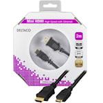 825027 Deltaco HDMI kabel typ A ha - Mini HDMI ha 2m svart
