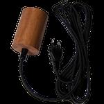 824878 Sladdställ brun 3,5m svart textilkabel E27