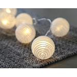 821519 Ljusslinga randiga bollar batteridriven 10 ljus 135cm med timer