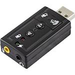 823958 Deltaco USB-ljudkort med anslutning för hörlurar och mikrofon 2x3,5mm