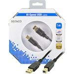 821358 USB kabel Typ A hane - Typ B Hane 1m svart