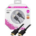 821238 HDMI kabel, Type A hane 1 meter svart.