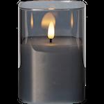 825312 LED blockljus Flamme rökglas 12,5cm hög med timer 2xAA